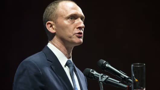Carter Page, an adviser to U.S. Republican presidential candidate Donald Trump, speaks at the graduation ceremony for the New Economic School in Moscow, Russia, Friday, July 8, 2016. Page is a former investment banker who previously worked in Russia.