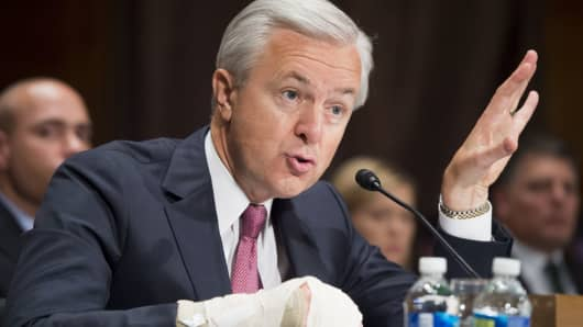 John Stumpf, chairman and CEO of Wells Fargo, testifies about the unauthorized opening of accounts by Wells Fargo during a Senate Banking, Housing and Urban Affairs Committee hearing on Capitol Hill in Washington, September 20, 2016.