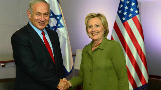 In this handout provided by the Israeli Government Press Office, Prime Minister Benjamin Netanyahu shakes hands with Democratic nominee for U.S. president Hillary Clinton at the W Hotel in Union Square September 26, 2016 in New York City.