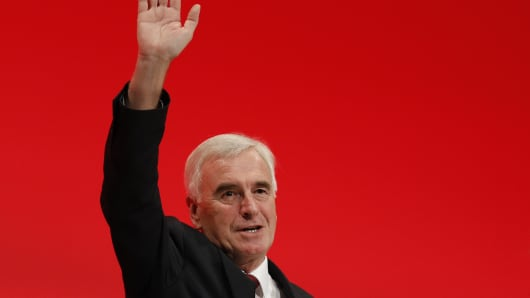Britain's shadow Chancellor of the Exchequer, John McDonnell, waves after delivering his keynote speech the annual Labour Party conference, in Liverpool.