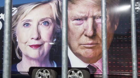 A truck billboard featuring Democratic nominee Hillary Clinton and Republican nominee Donald Trump