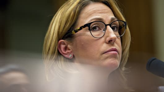 Heather Bresch, chief executive officer of Mylan NV, listens during a House Oversight and Government Reform Committee hearing in Washington, Sept. 21, 2016.