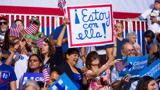 Latino supporters of Hillary Clinton hold a sign saying 'I'm with her' written in Spanish at a campaign rally, in Miami, Florida.