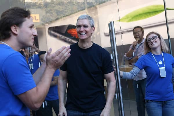 Tim Cook with Apple employees