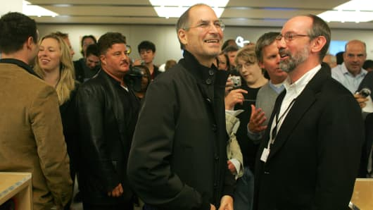 The late Steve Jobs, former CEO of Apple, at the opening of the Apple Store on Fifth Avenue in New York on May 19, 2006