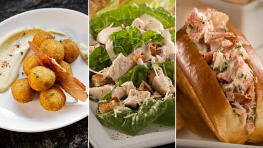 iPic Express food offerings: Croquettes, Caesar Spears, and Lobster Roll.