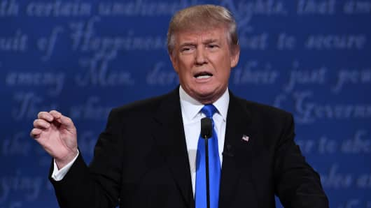 Republican nominee Donald Trump speaks during the first presidential debate at Hofstra University in Hempstead, New York on September 26, 2016.