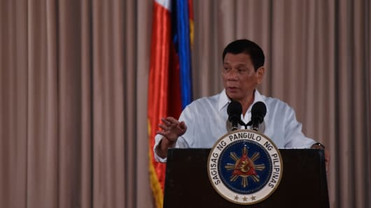 Philippine President Rodrigo Duterte speaks during a presidential awarding ceremony.