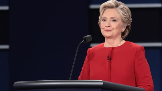 Democratic presidential nominee Hillary Clinton pauses during the Presidential Debate at Hofstra University on September 26, 2016 in Hempstead, New York.