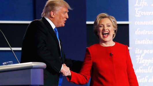 Donald Trump greets Hillary Clinton after their first presidential debate at Hofstra University in Hempstead, New York, September 26, 2016.