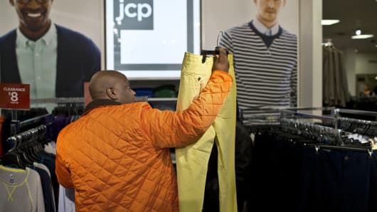 Young man shopping in JC Penney's