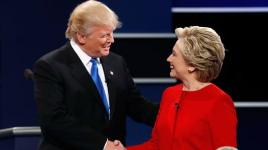 Republican U.S. presidential nominee Donald Trump and Democratic U.S. presidential nominee Hillary Clinton prior to their first presidential debate at Hofstra University in Hempstead, New York, September 26, 2016.