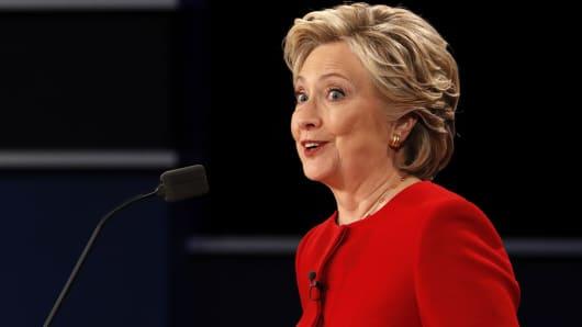 Democratic U.S. presidential nominee Hillary Clinton speaks during the first presidential debate with Republican U.S. presidential nominee Donald Trump at Hofstra University in Hempstead, New York, U.S.
