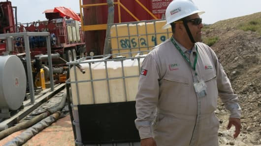 Pemex engineer is a site manager for Mexico's national oil company, Pemex, which has hired the global oilfield service company Weatherford Intl. to drill using the technique known as fracking.