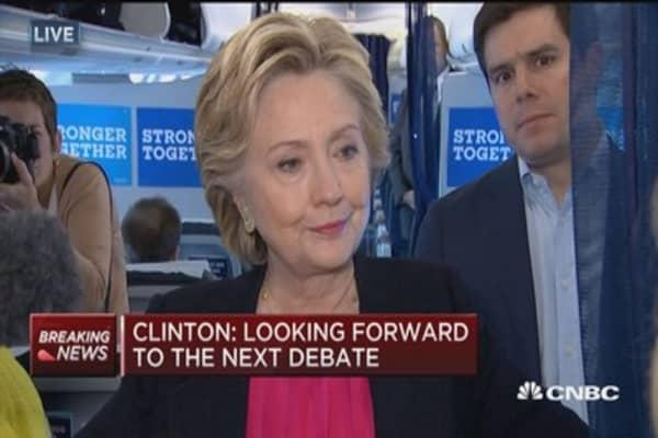 Clinton: Enjoyed last night's debate