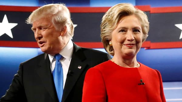 Donald Trump and Hillary Clinton at their first debate at Hofstra University in Hempstead, New York, Sept. 26, 2016.