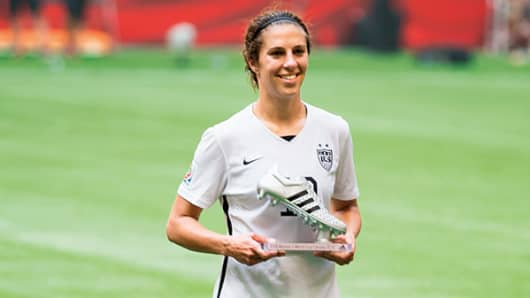 Carli Lloyd won the Silver Boot as the second leading score in the 2015 World Cup.