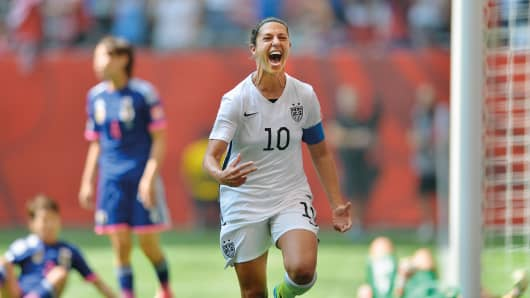 Carli Lloyd's first goal in the World Cup Final against Japan.