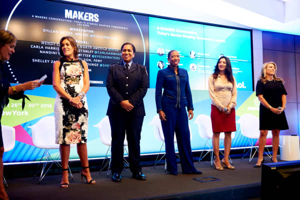 Nandini Ramani, vice president of engineering at Twitter (second from left) at AOL and Adweek's Makers conference.