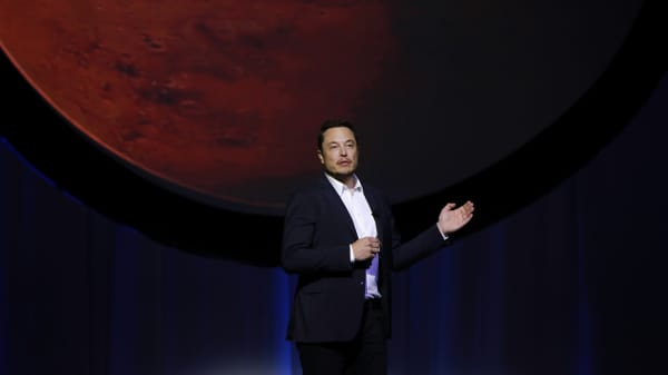 Elon Musk, chief executive officer for Space Exploration Technologies Corp. (SpaceX), speaks during the 67th International Astronautical Congress (IAC) in Guadalajara, Mexico