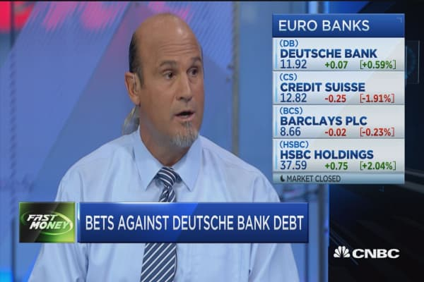 Bets against Deutsche Bank debt