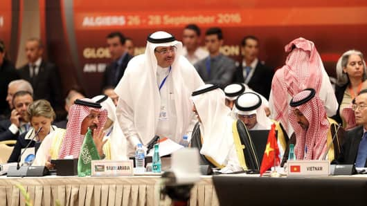 The Saudi Oil Minister Khaled al-Faleh attends the 15th International Energy Forum in Algiers on September 27, 2016, on the eve of an informal OPEC meeting the next day.