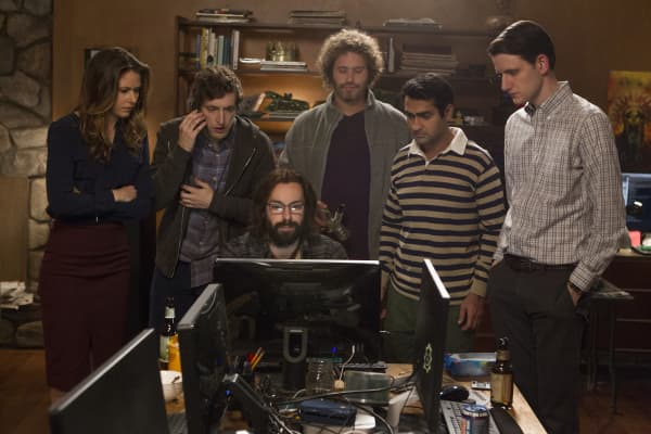 Kumail Nanjiani, T.J. Miller, Thomas Middleditch, Zach Woods and Martin Starr featured in Silicon Valley an HBO original