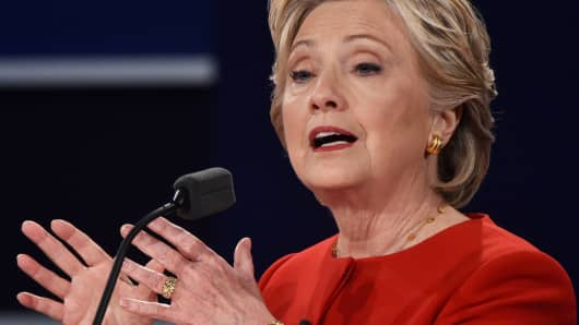 Democratic nominee Hillary Clinton makes a point during the first presidential debate at Hofstra University in Hempstead, New York on September 26, 2016.