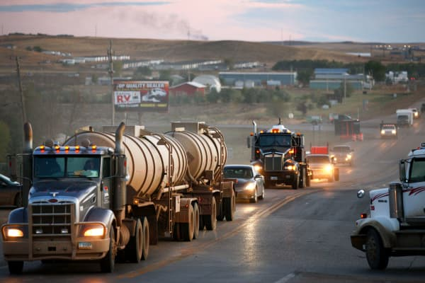 Traffic generated by an oil boom lines the main street in Watford City, North Dakota.