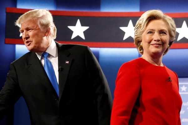 Donald Trump and Hillary Clinton at their first debate at Hofstra University in Hempstead, New York, September 26, 2016.