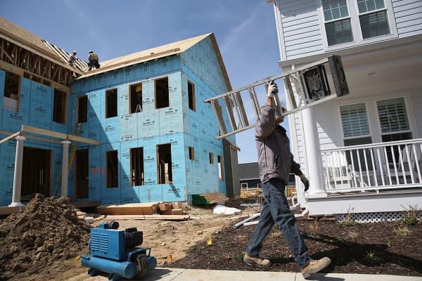 A housing development under contruction in Denver, Colorado.