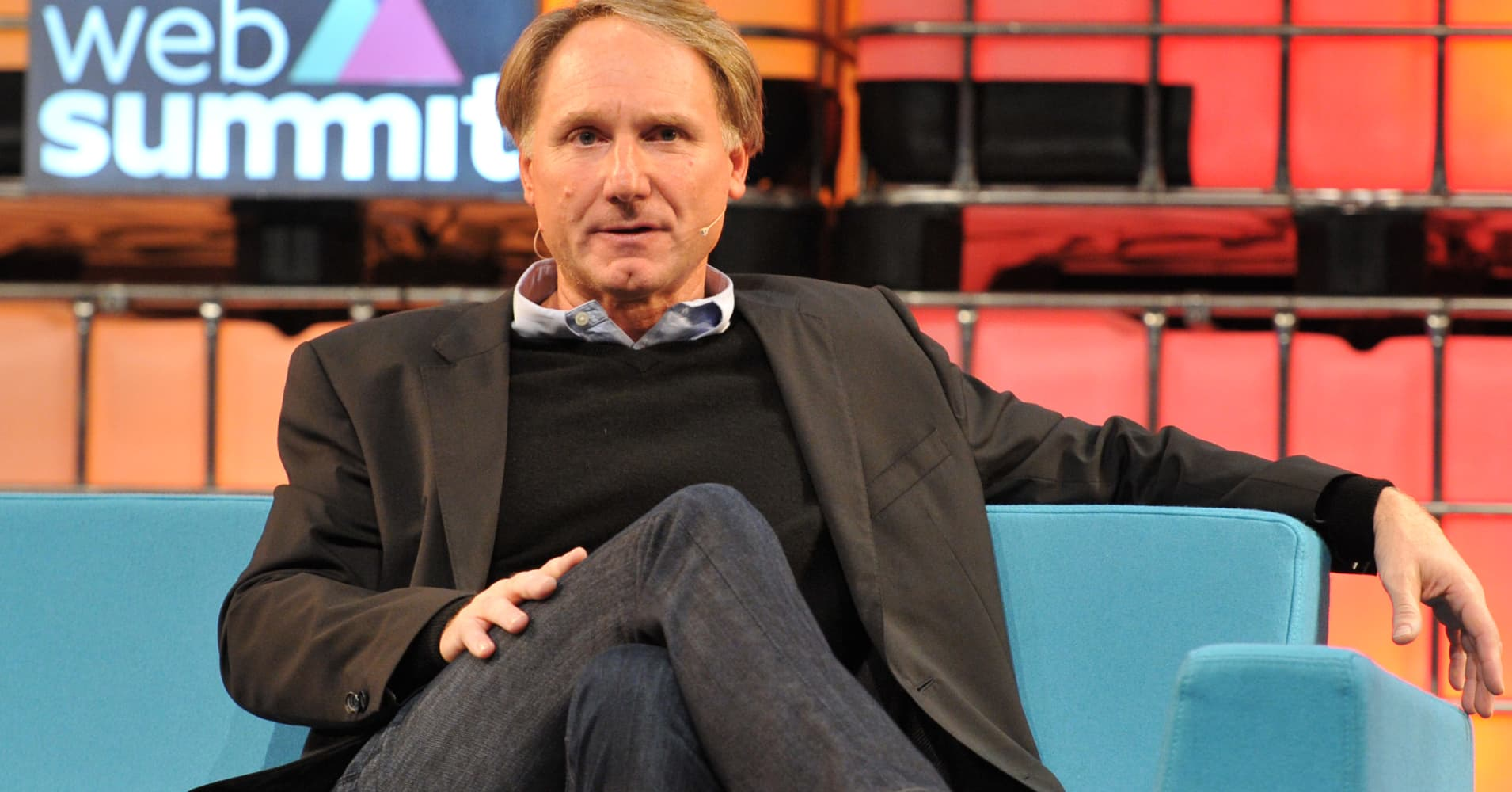 Author Dan Brown speaks on stage during the third day of the 2015 Web Summit on November 5, 2015 in Dublin, Ireland.