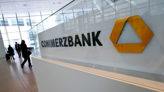 Pedestrians at Commerzbank's headquarters in Frankfurt, Germany.