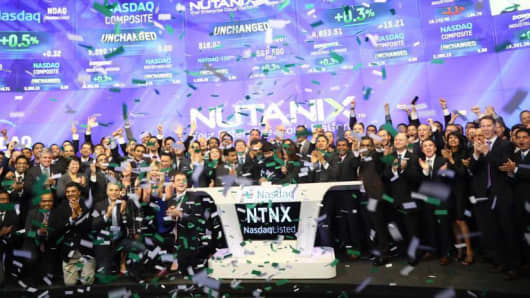 Nutanix IPO celebration at the Nasdaq market site in New York, September 30, 2016.