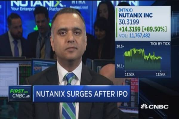 Nutanix surges after IPO