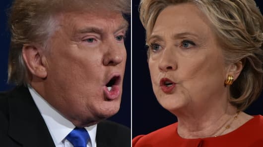 Republican nominee Donald Trump and Democratic nominee Hillary Clinton face off during the first presidential debate at Hofstra University in Hempstead, New York.