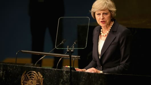 British Prime Minister Theresa May addresses the United Nations General Assembly on September 20. May will on Sunday reveal plans to kickstart Britain's exit from the European Union.