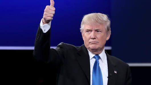 Presidential nominee Donald Trump waves after the debate at Hofstra University on September 26.