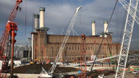 Construction work continues on Battersea Power Station on November 23, 2015 in London, England.