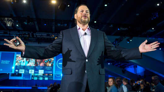 Marc Benioff, chairman and chief executive officer of Salesforce.com, speaks during a keynote address during the DreamForce Conference in San Francisco.