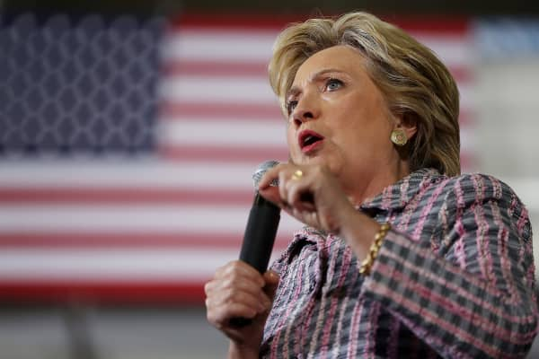 Democratic presidential nominee former Secretary of State Hillary Clinton speaks during a campaign rally at Coral Springs Gymnasium on September 30, 2016 in Coral Springs, Florida.