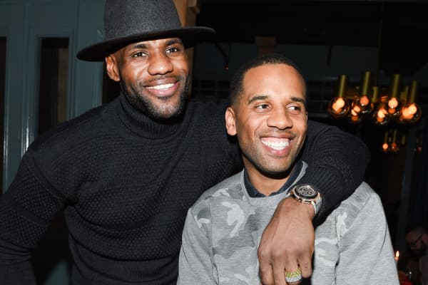 LeBron James and Maverick Carter attend the Beats in the Six and Drake Welcome Dinner at Fring's on February 11, 2016, in Toronto, Canada.