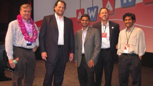 Apttus CEO Kirk Krappe, Salesforce CEO Marc Benioff, Apttus VP Mahesh Baxi, Apttus CCO Kent Perkocha and Apttus CTO Neehar Giri