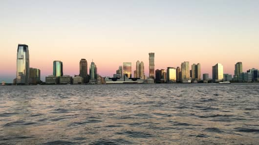 A view of Jersey City skyline from an early morning run.