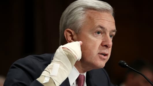 John Stumpf, chairman and CEO of the Wells Fargo & Company, testifies before the Senate Banking, Housing and Urban Affairs Committee September 20, 2016 in Washington, DC.