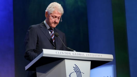 Former President Bill Clinton speaking at the 2016 Clinton Global Initiative Annual Meeting in New York on Sept. 20th, 2016.