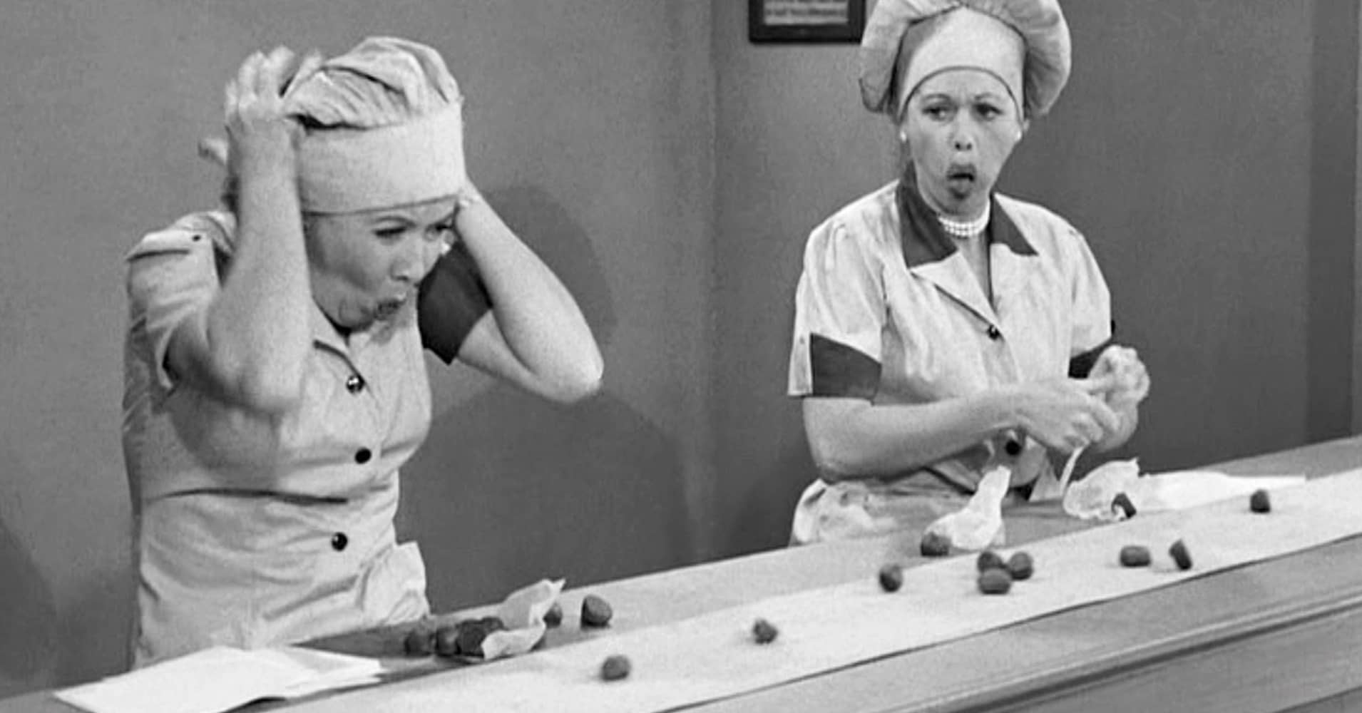 "Vivian Vance as Ethel Mertz and Lucille Ball as Lucy Ricardo in the I LOVE LUCY episode, ""Job Switching."""