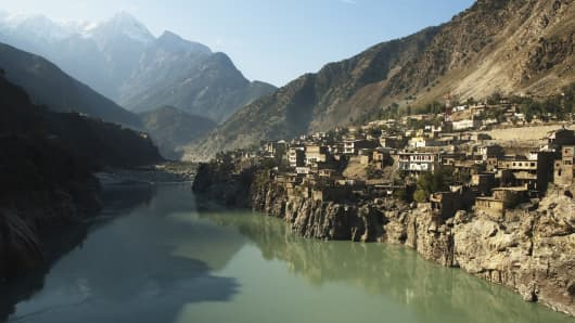 View of the Indus River passing through the town of Dasu, Pakistan.