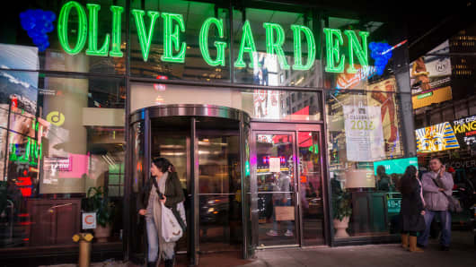 An Olive Garden restaurant in Times Square in New York