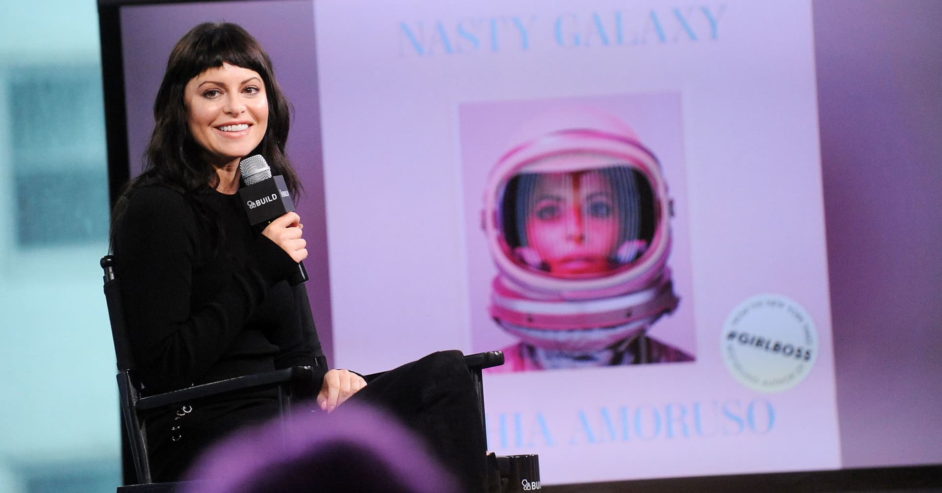 Sophia Amoruso discussing her new book 'Nasty Galaxy' on October 3, 2016 in New York City.
